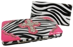Rhinestone Cross Zebra Thick Flat Wallet