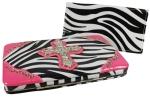 Rhinestone Cross Zebra Thick Flat Wallet