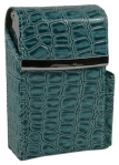 Teal Moc Croc Cigarette Case