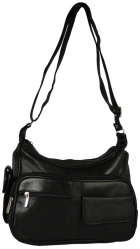 Pebbled Leather Organizer Shoulder Bag