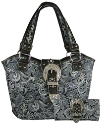 Montana West Rhinestone Paisley Handbag & Wallet Set