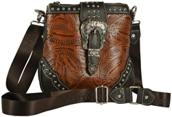 Montana West Tooled Faux Leather Cross Body